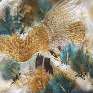 Formal embroidered bird kids kimono & juban